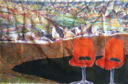 Chairs and Hills Silk Painting