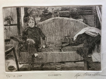 Elizabeth on sofa Etching