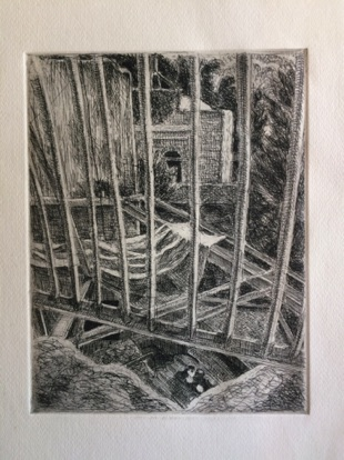 Railing and cats Etching