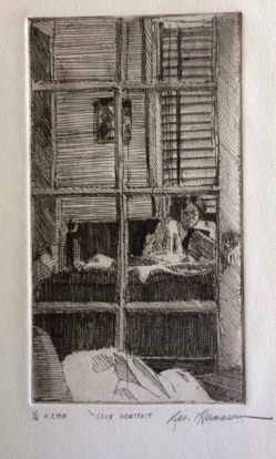 Self portrait and mirror Etching