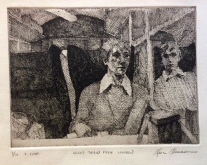 Boat train to London Etching