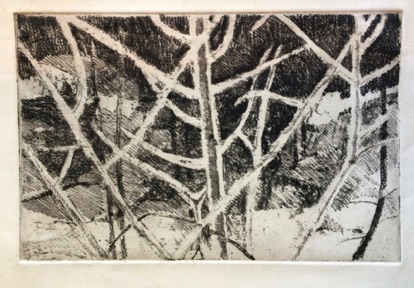 Snowy woods Etching