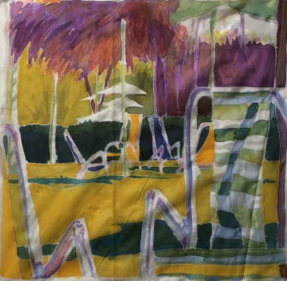 Lawn Chairs at a Pool Silk Painting