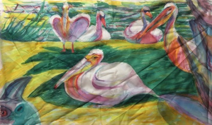 Storks and a Cassowary Silk Painting