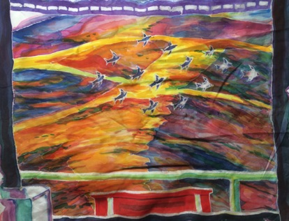 flock and hills silk painting